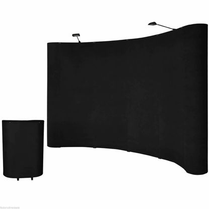 Picture of 10'ft Portable Black Display Trade Show Booth Exhibit Pop Up Kit with Spotlights