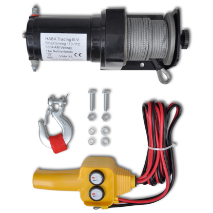 Picture of 12 V Electric Winch 2000 lb Wire Remote Control