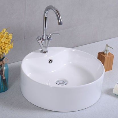 "Picture of 18""x 18"" Round Bathroom Ceramic Vessel Sink Bowl Porcelain with Pop Up Drain Basin"