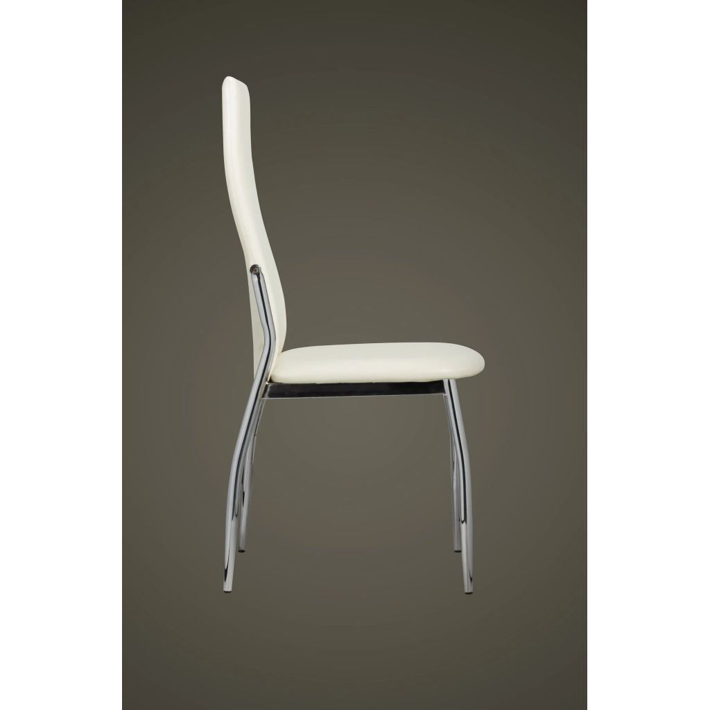Picture of 2 Dining chairs chrome white leather