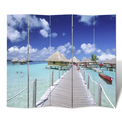 "Picture of 5-Panel Room Divider Folding Double Sided Screen Beach Print 78.7"" x 70.9"""