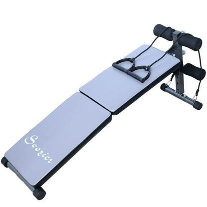 Picture of Adjustable Folding Ab Decline Sit Up Bench With Resistance Bands - Gray and Black