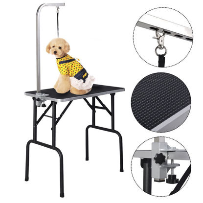 Picture of Adjustable Grooming Table Foam Top for Pets Dogs Cats with Arm and Noose and Rubber Mat 32''