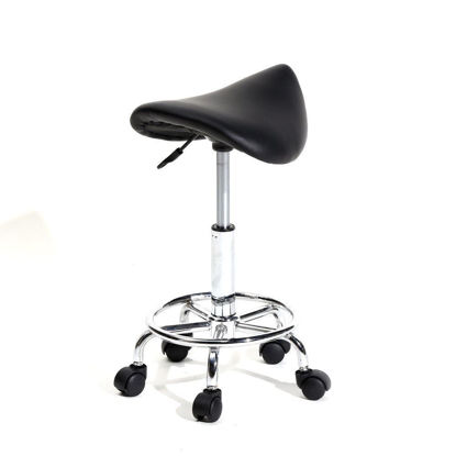 Picture of Adjustable Hydraulic Swivel Rolling Massage Salon Spa Stool Saddle Chair - Black