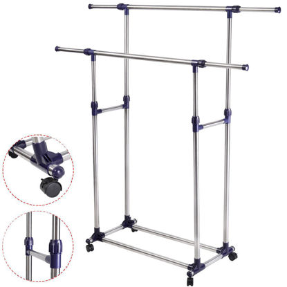Picture of Adjustable Portable Rolling Double Clothing Rack