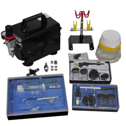 "Picture of Airbrush Compressor Set with 3 Pistols 10"" x 5.3"" x 8.7"""