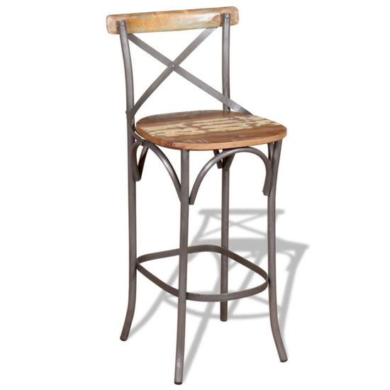 """Picture of Bar Chair Solid Reclaimed Wood 17.7""""x17.7""""x43.3"""""""