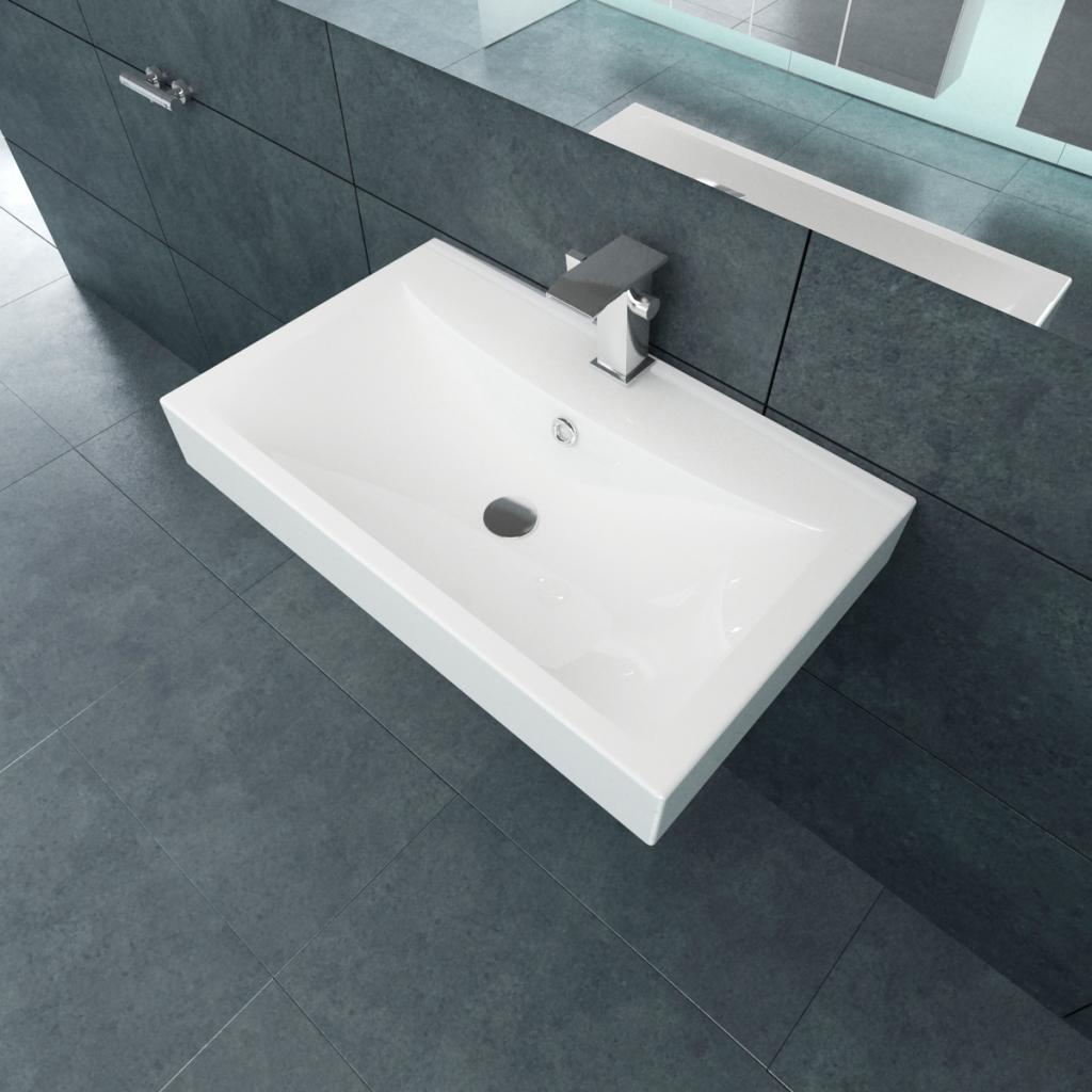 "Picture of Bathroom Ceramic Basin Rectangular Sink - White 23.6"" x 18.1"""