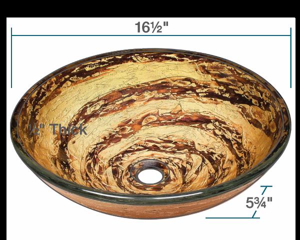 Picture of Bathroom Glass Sink Classic Bowl-Shaped Vessel - Foil Undertone