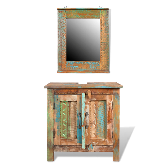 Picture of Bathroom Vanity Cabinet Set with Mirror - Reclaimed Solid Wood