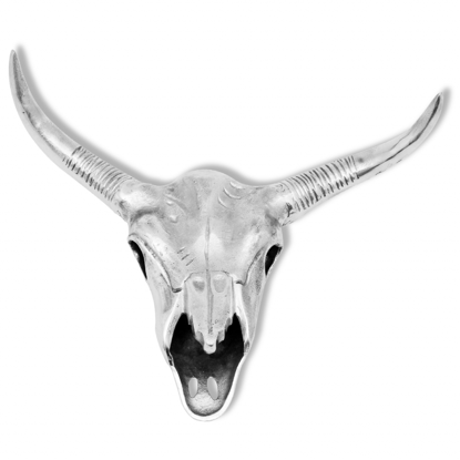 Picture of Bull Skull Head Decoration Wall-Mounted Aluminum Silver