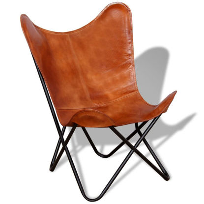 Picture of Butterfly Chair Real Leather Brown