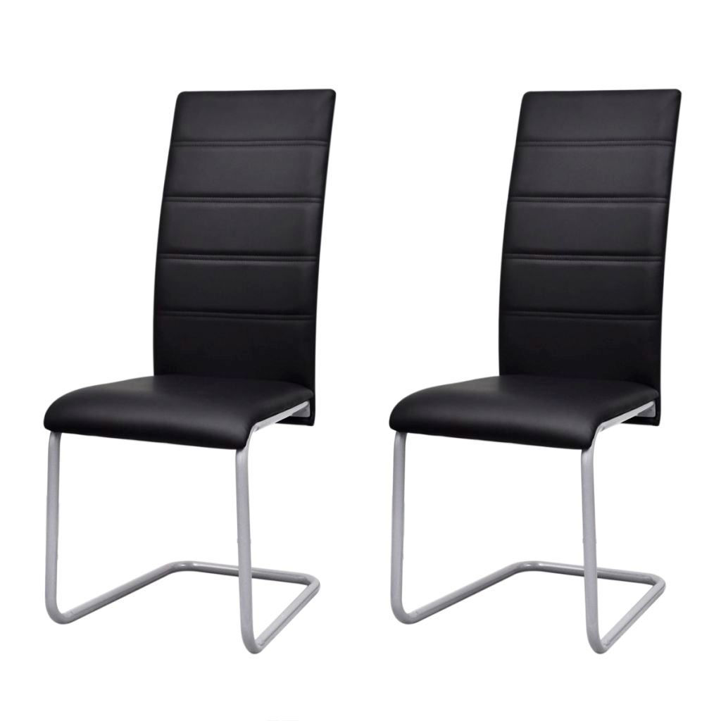 Picture of Cantilever Dining Chairs 2 pcs Artificial Leather Black