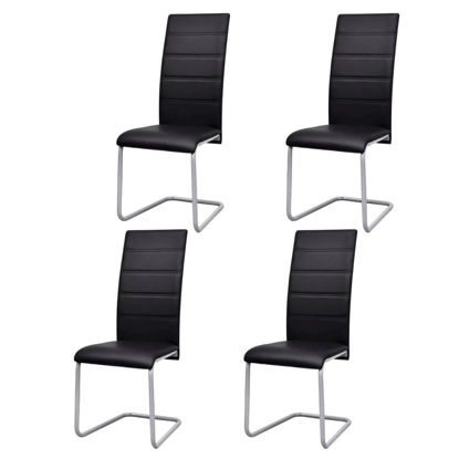 Picture of Cantilever Dining Chairs 4 pcs Artificial Leather Black