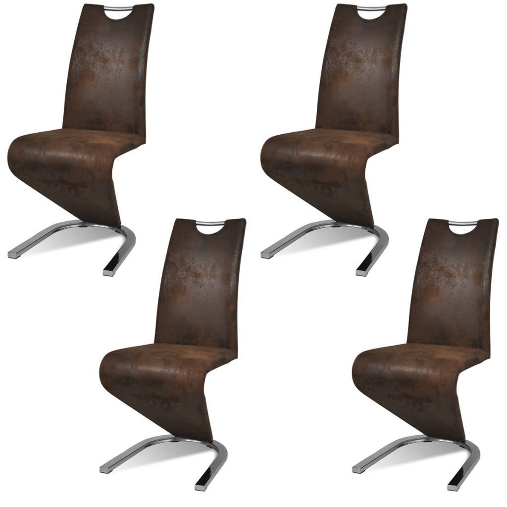 Picture of Cantilever Dining Chairs 4 pcs Artificial Leather Brown