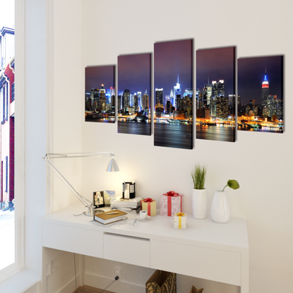 "Picture of Canvas Wall Print Set Colorful New York Skyline 79"" x 39"""