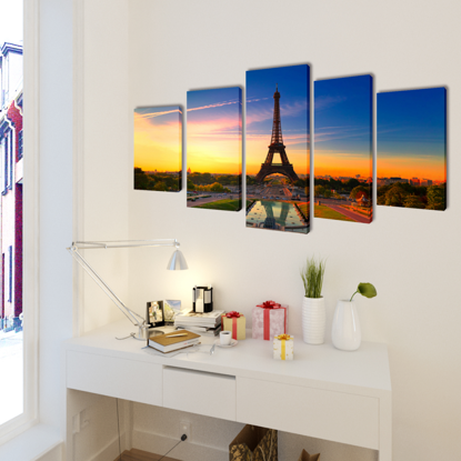 "Picture of Canvas Wall Print Set Eiffel Tower 39"" x 20"""