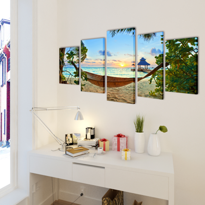 """Picture of Canvas Wall Print Set Sand Beach with Hammock 39"""" x 20"""""""