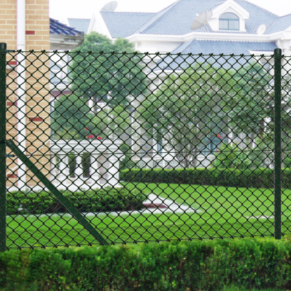 """Picture of Chain fence 4' 9"""" x 49' 2"""" Green with Posts & All Hardware"""