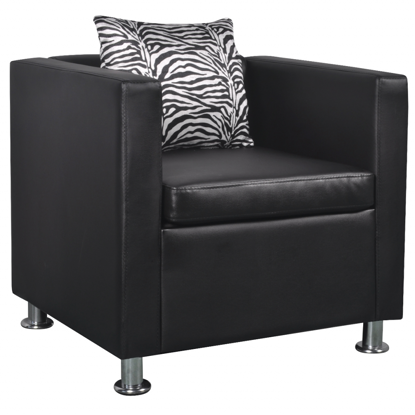 Picture of Cube Armchair with Pillow Artificial Leather - Black