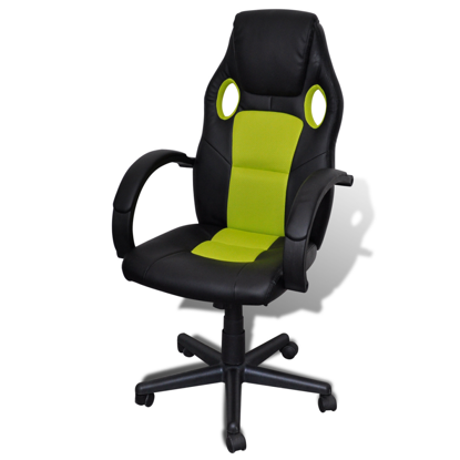 Picture of Desk Office Chair Artificial Leather Swivel Adjustable Height - Green