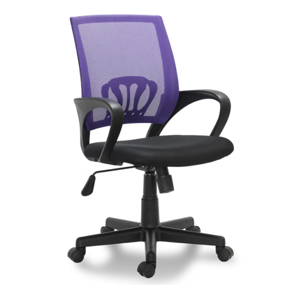 Picture of Desk Office Chair Swivel Stool Adjustable Seat - Black/Purple