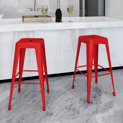 Picture of Dining Bar Chair High Stool Square - 2 pcs Red