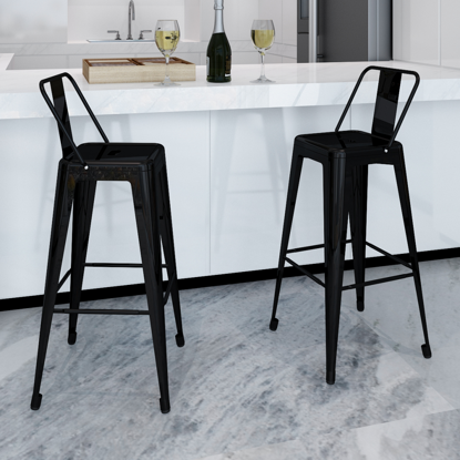 Picture of Dining Bar Chair High Stools Square 2 pcs - Black