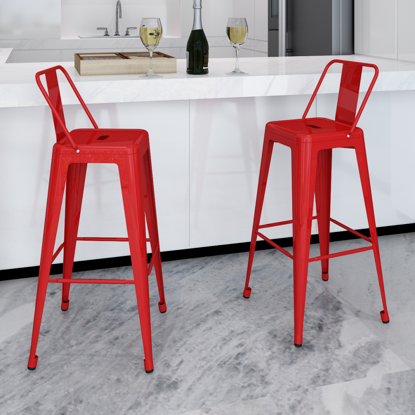 Picture of Dining Bar Chair High Stools Square 2 pcs - Red