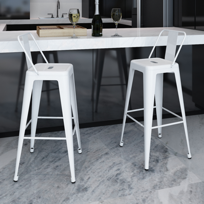 Picture of Dining Bar Chair High Stools Square 2 pcs - White