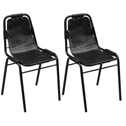 """Picture of Dining Chairs 2 pcs Black 19.3""""x20.5""""x34.6"""" Real Leather"""
