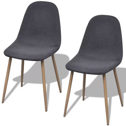 Picture of Dining Chairs 2 pcs Fabric Dark Gray