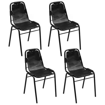 """Picture of Dining Chairs 4 pcs Black 19.3""""x20.5""""x34.6"""" Real Leather"""