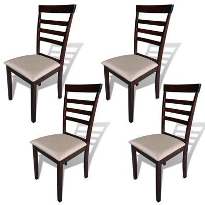 Picture of Dining Chairs 4 pcs Fabric Brown and Cream