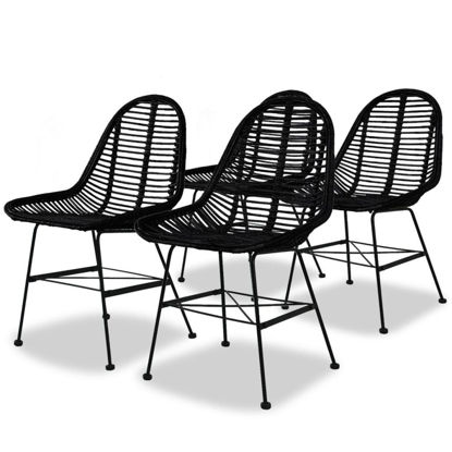Picture of Dining Chairs 4 pcs Natural Rattan Black
