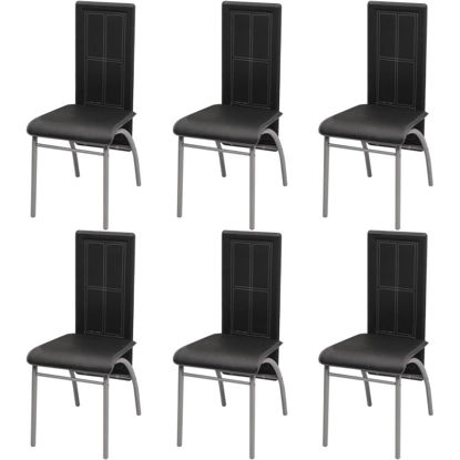 Picture of Dining Chairs 6 pcs Artificial Leather Black