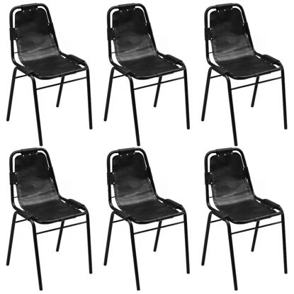 """Picture of Dining Chairs 6 pcs Black 19.3""""x20.5""""x34.6"""" Real Leather"""