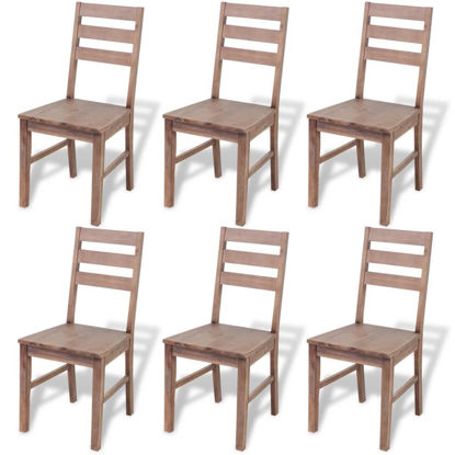 "Picture of Dining Chairs 6 pcs Solid Acacia Wood 16.5""x19.3""x35.4"""