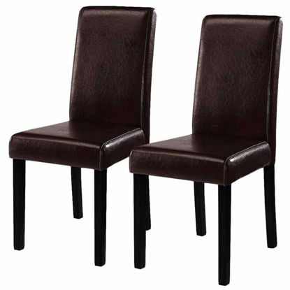 Picture of Dining Chairs Set Leather Contemporary - 2 Dark Brown