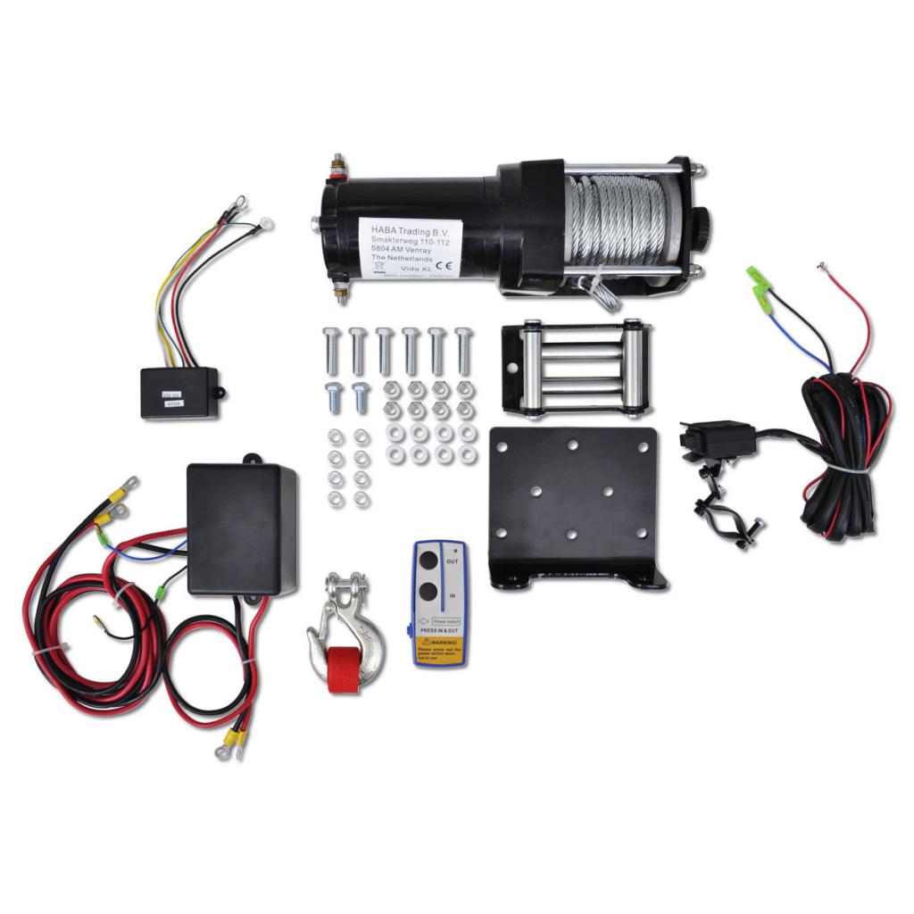 Picture of Electric Winch 3000 lb Plate Roller Fairlead Wireless Remote Control