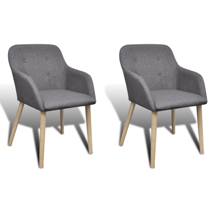 Picture of Fabric Dining Chair Set with Armrest - Dark Gray 2 pcs