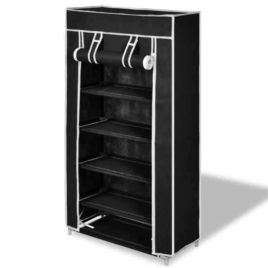 """Picture of Fabric Shoe Cabinet with Cover 23"""" x 11"""" x 42"""" - Black"""
