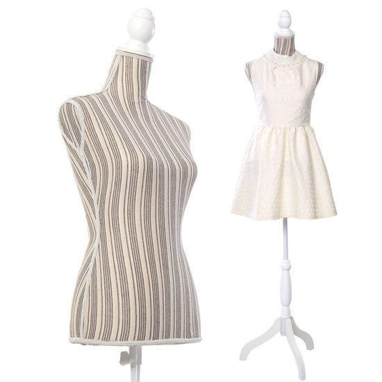 Picture of Female Mannequin Torso Dress Form Display With White Tripod Stand