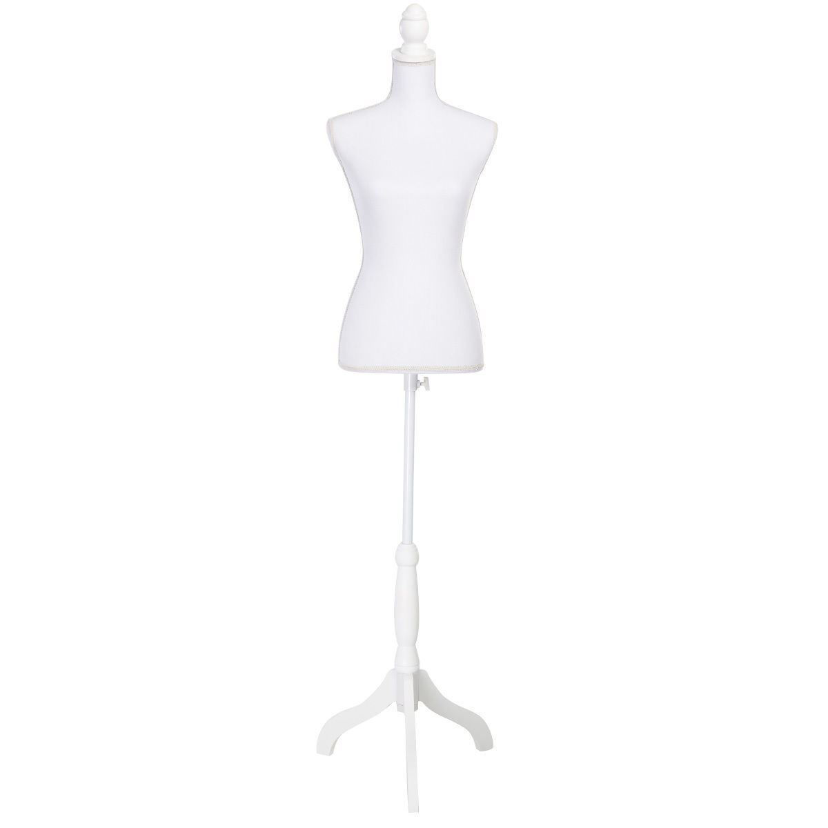 Picture of Female Mannequin Torso Dress Form Display With White Tripod Stand White