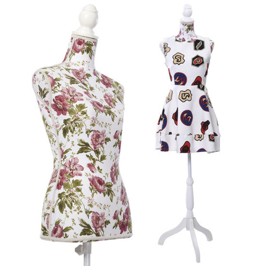 Picture of Female Torso Mannequin Torso Dress Form Display with White Tripod Stand