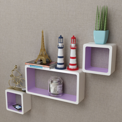 Picture of Floating Wall Display Shelves Cubes - 3 pcs White/Purple