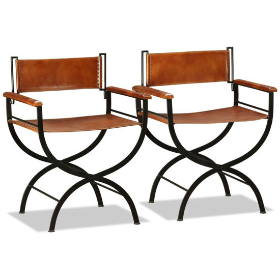 """Picture of Folding Chairs 2 pcs Genuine Leather 23.2""""x18.9""""x30.3"""""""