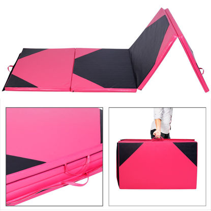 Picture of Folding Gymnastics Mat Pink/Black - 4' x 10' x 2""