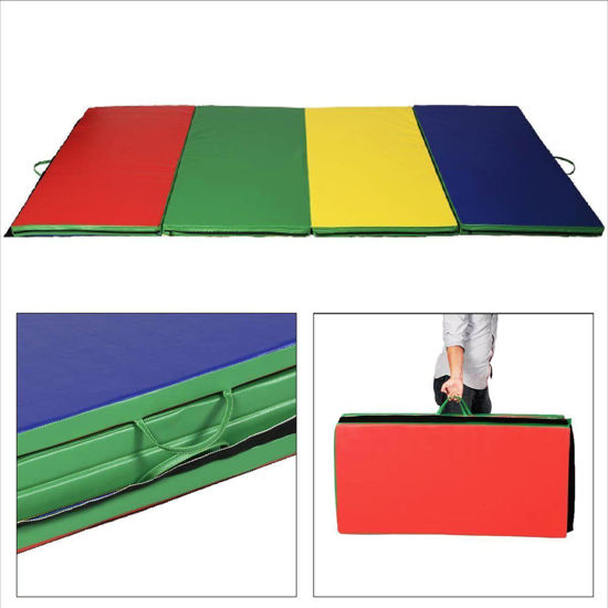 "Picture of Folding Gymnastics Tumbling Mat Multi-color - 4' x 10' x 2"""
