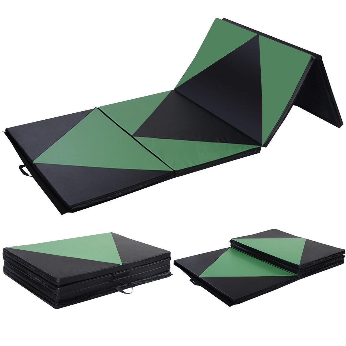 "Picture of Folding Tumbling Gymnastics Mat Green / Black - 4' x 10' x 2"""